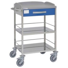 Carro hospitalario multifuncional en acero inoxidable con 1 cajón superior